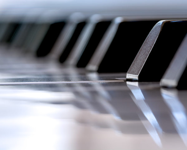 Close-up macro of a piano key